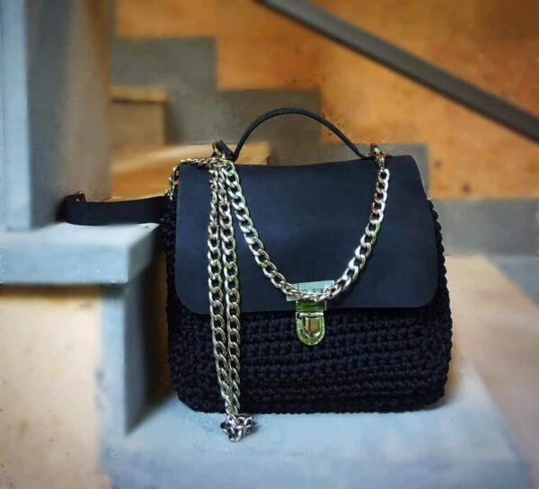 Black bag with leather